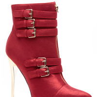 Red Harlet Pointed Toe Multi Buckle Bootie