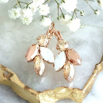 Rose Gold Earrings, Bridal Drop Earrings, Bridesmaids Earrings, Opal Rose Gold Earrings, Bridal Earrings, Gold Champagne Crystal Earrings
