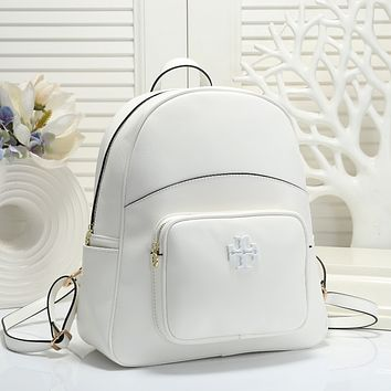 TORY BURCH Woman Leather Travel Bookbag Shoulder Bag Backpack white