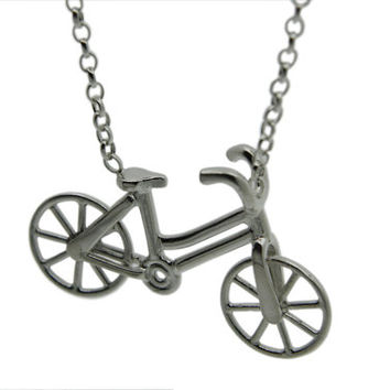 Silver Bicycle Necklace, Handmade Sterling Silver, Spinning Wheels, Made in Brighton UK