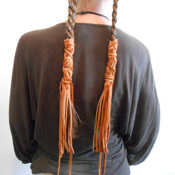 Handmade Leather Braid Wraps, Fringe Hair Ties, Hair Accessory, Boho Fashion, Hippie, Mountain Man, Rendezvous, Powwow
