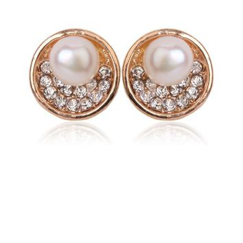 Bridal Golden Crystal & Pearl Earrings