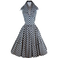 1950s PINUP Renee Marciel Black and White  Stripe Halter  Swing Dress