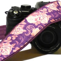 Flowers Camera Strap. Canon Nikon Camera Strap. Camera Accessories. Purple, Pink. Gift For Her. For Women.