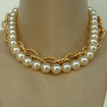 Erwin Pearl Heavy Chunky 2-Strand Necklace Pearls Goldtone Vintage Jewelry