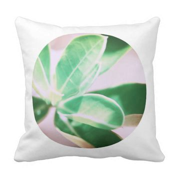 Pale Green Kudu Lily Leaves Cushion Pillow
