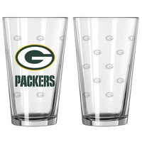 Green Bay Packers Satin Etch Pint Glass Set