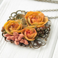 Orange Pink Green Succulent Necklace Pendant succulent plants Medallion Pendant Jewelry Succulent mother mom gifts for mums