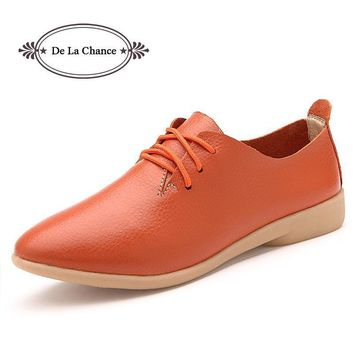 2017 Cow Muscle Ballet Autumn Casual Shoes Women Genuine Leather Shoes Woman Flat Flex