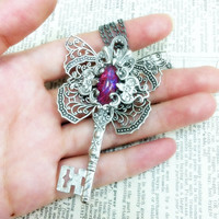 The Butterfly Effect Key - Aged silver plated brass filigree pendant - Fantasy fairytale jewelry - Vintage victorian steampunk gothic style