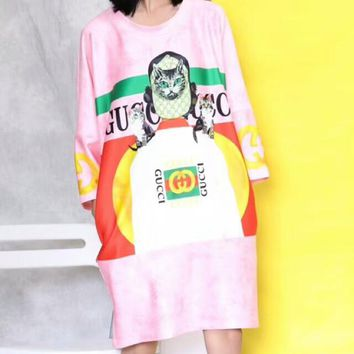 GUCCI New Fashion Summer Owl Print cat Short Sleeve Dress C-AA-XDD Pink