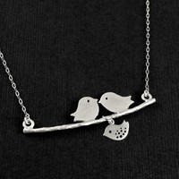 Love Birds & One Baby Family Parents and Kids Sterling Silver - Wedding Jewelry | Handmade Jewelry