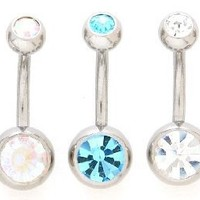 Body Accentz™ Lot of 5 Double Jeweled Gemmmed Belly Navel Body Jewelry Piercing Bar Ring Rings 14g