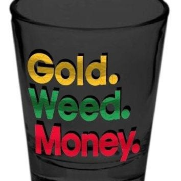"""1.5oz The OFFICIAL """"Gold. Weed. Money"""" Clayton Crocker PREMIUM Shot Glass GIFT"""