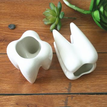 2Pcs Ceramic Plant Flower Pot Succulent Garden Cute Teeth White Home Decorative Storage Container