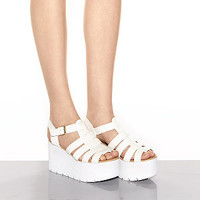 White Gladiator Flatform Wedges