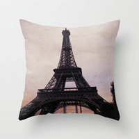 Vintage Paris Throw Pillow by The Dreamery