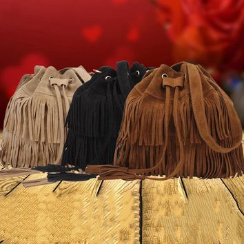 Women Faux Suede Drawstring Bucket Bag Vintage Handbag Fringe Tassel Messenger Shoulder Bags WML99