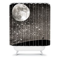 Deny Designs Shannon Clark Love Under The Stars Fabric Shower Curtain (Black)