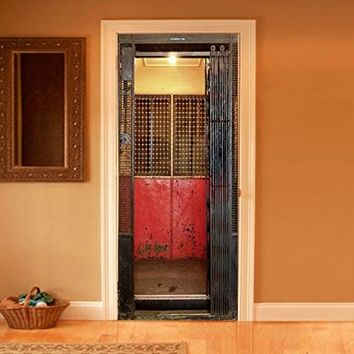 """Wall Door LAMINATED STICKER old elevator lift gate grate poster, mural, decole, film 30x79"""" (77x200 Cm)"""