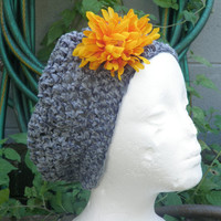 gunmetal gray chenille hand crochet slouchy beret, hat, beanie, removable flower