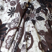 Rayon Knit Fabric Tribal Floral Design Cocoa White Dark Brown Black HALF YARD (45 cm)
