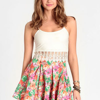 Floral Haze Pleated Denim Skirt - $38.00 : ThreadSence, Women's Indie & Bohemian Clothing, Dresses, & Accessories