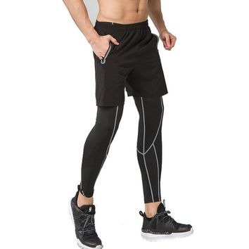 2PC Men Sports Running Tights Leggings Gym Clothing gym Basketball Compression Pants Fitness cycling yoga Tennis Sport Leggings