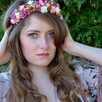 Floral crown flower crown headband rose, bridal wreath, wedding garland festival boho - 'Juliet'