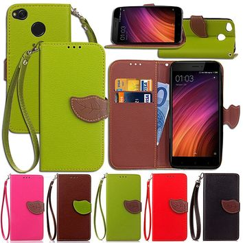 For Xiaomi redmi 2 3 3S 4X Luxury Leather Cover Flip Wallet Phone Case With Leaves Buckle And Lanyard Mobile Phone Shell