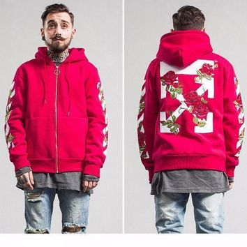 Off White X  Rose Hooded  Unisex Hoodie Red