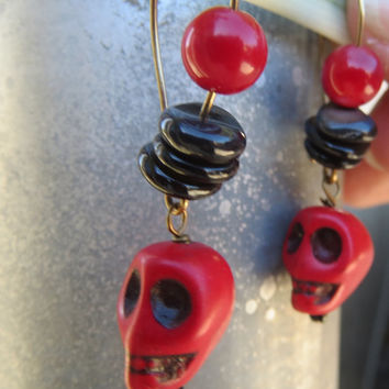 Red Skull Dangle Earrings, Red Coral and Black Shell Earrings, Day of the Dead Jewelry, Rocker Chic, Halloween Style