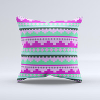 Lime Green Purple Tribal Ethic Geometric Pattern Ink-Fuzed Decorative Throw Pillow