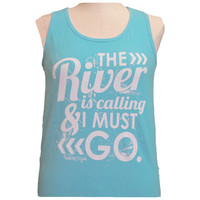 Girlie Girl Originals The River Lagoon Blue Bright Tank Top