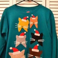 Meowy Christmas Cats in Hats Tacky Teal Sweater M