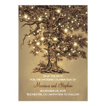 "Vintage Tree Lights Rustic Save The Date Invites 4.5"" X 6.25"" Invitation Card"