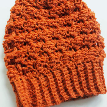 Crochet Slouchy Hat, Crochet Slouchy Beanie, Crochet Beanie in Pumpkin Spice, The Bailey Slouchy Beanie, Wool Blend