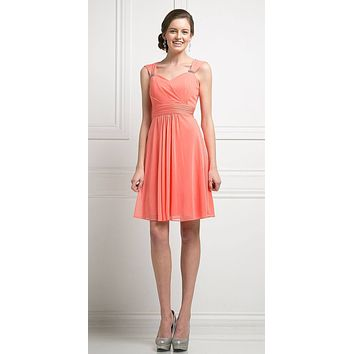 Cinderella Divine 3832 Coral Chiffon Thick Strap Sweetheart Neckline Short Cocktail Dress