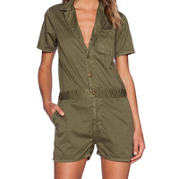 Current/Elliott The Engineer Romper in Olive