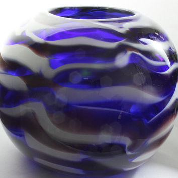 Large Transparent Cobalt Blue Bowl with Opaque White and Purple Horizontal Body Wrap Designs, Hand Blown Glass Closed Bowl – Free Shipping
