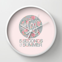 5SOS Pink Floral Wall Clock by Valerie Hoffmann | Society6