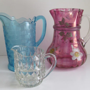 EAPG Block Crystal Water Pitcher Heavy Crystal Creamer Antique Clear Glass Pitcher