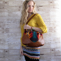 Pendleton Wool and Cognac Leather Hobo Purse Indian Blanket Cross Body Bag