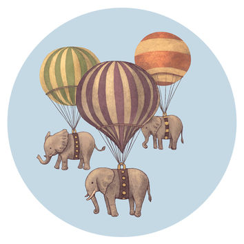 Terry Fan Flight of the Elephants Circle Print