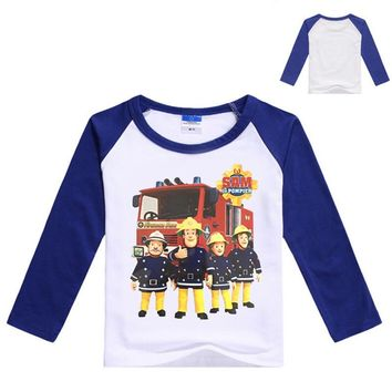 2017 New Spring Baby Boys Clothing Fireman Sam Shirt Long Sleeve Baby Tshirt Boys Shirts Children T Shirt Kids Fashion Top N7153