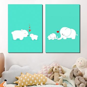 Nordic Bear Elephant Heart Cartoon Canvas Silk Painting Poster Wall Art Pictures for Kids Nursery Room Decoration