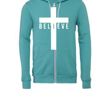 cross believe car decal sticker - Unisex Full-Zip Hooded Sweatshirt