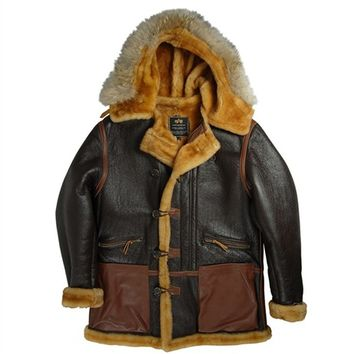 Alpha Industries B-7 Vintage Sheepskin Parka : Men's Leather Jackets