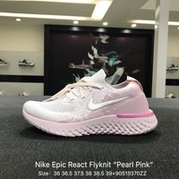 NIKE EPIC REACT FLYKNIT Women Men Pink Sports Running Shoes Sneaker - AQ0070-600