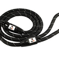Comfortable & Durable 6-Ft Dog Rope Black Leash Features a Generous Hand Loop Great for Walking Running Hiking and Climbing Training Leash with Reflective Stitching For Large Medium Sized Dogs (BLACK)